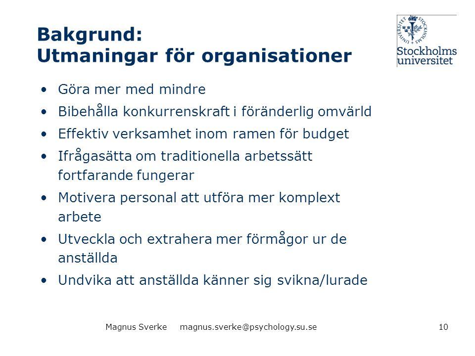 Bakgrund: Utmaningar för organisationer