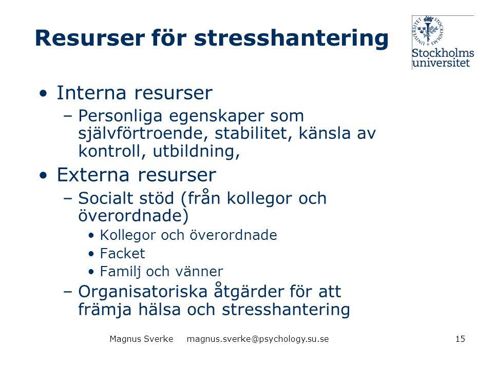 Resurser för stresshantering