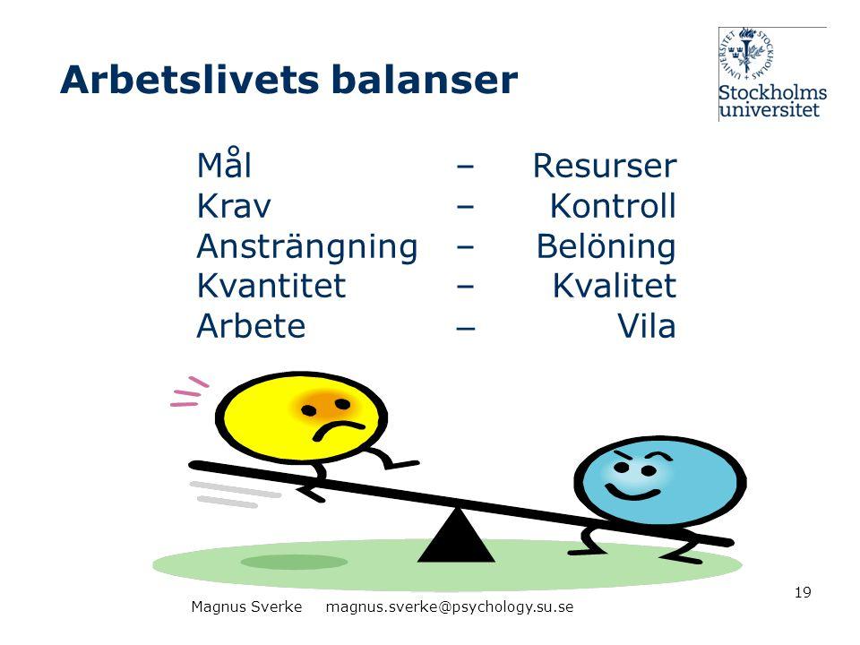 Arbetslivets balanser