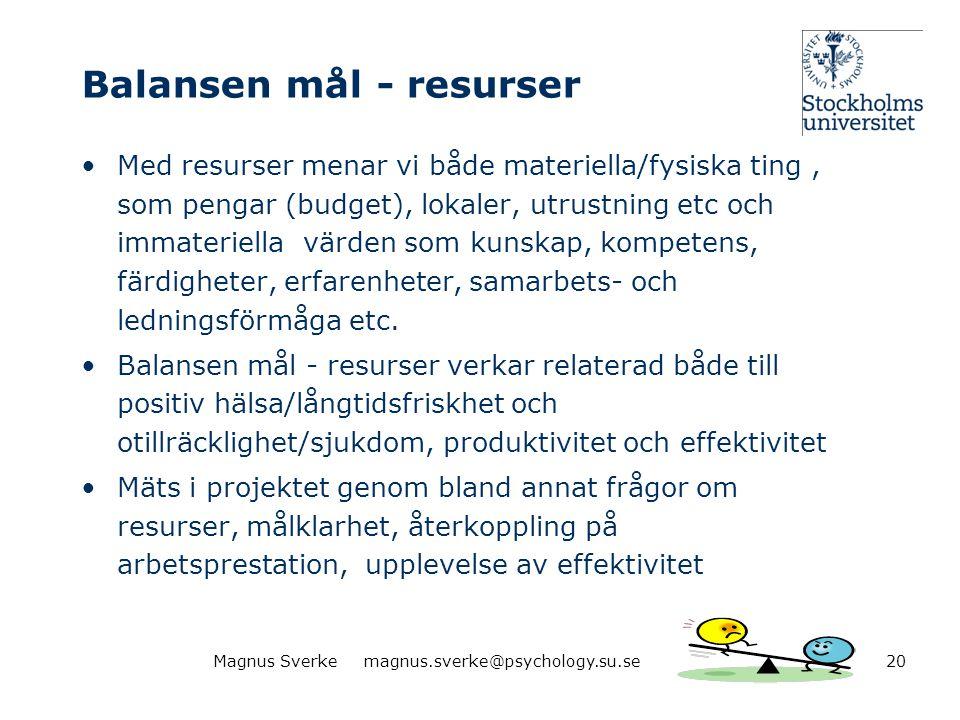 Balansen mål - resurser