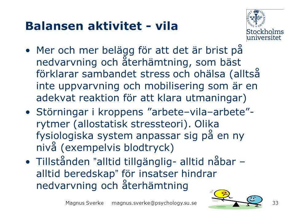 Balansen aktivitet - vila