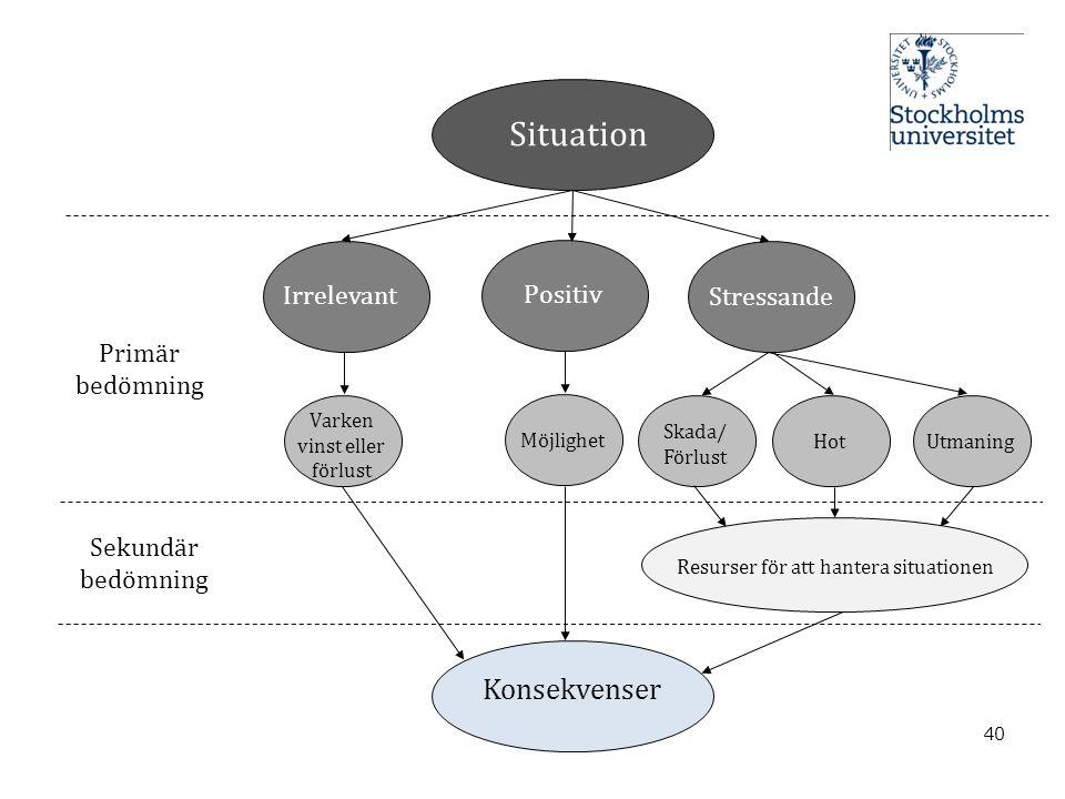 Situation Konsekvenser Irrelevant Positiv Stressande Primär bedömning