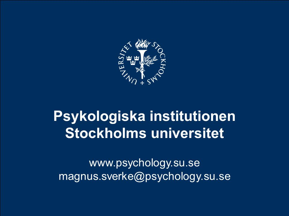 Psykologiska institutionen Stockholms universitet