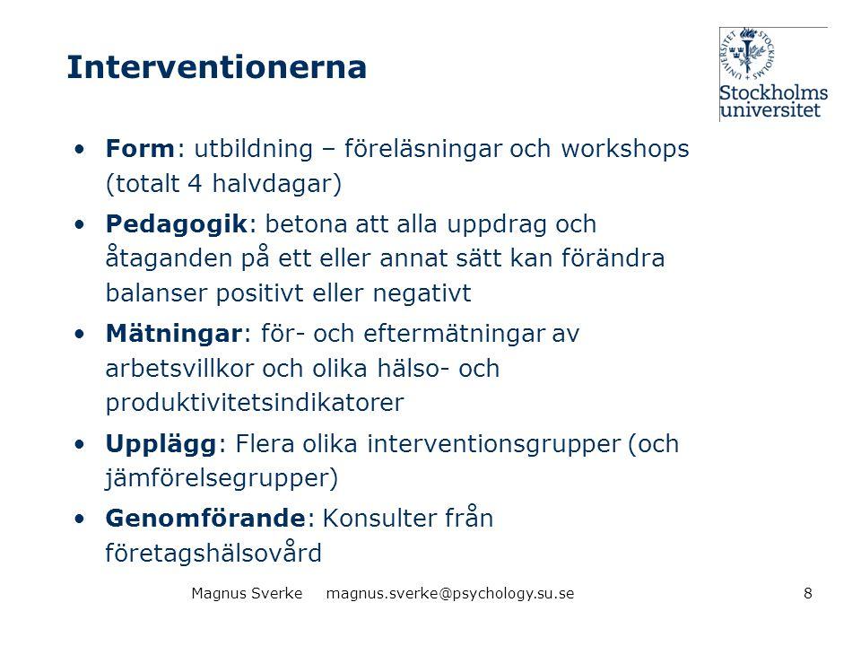 Interventionerna Form: utbildning – föreläsningar och workshops (totalt 4 halvdagar)