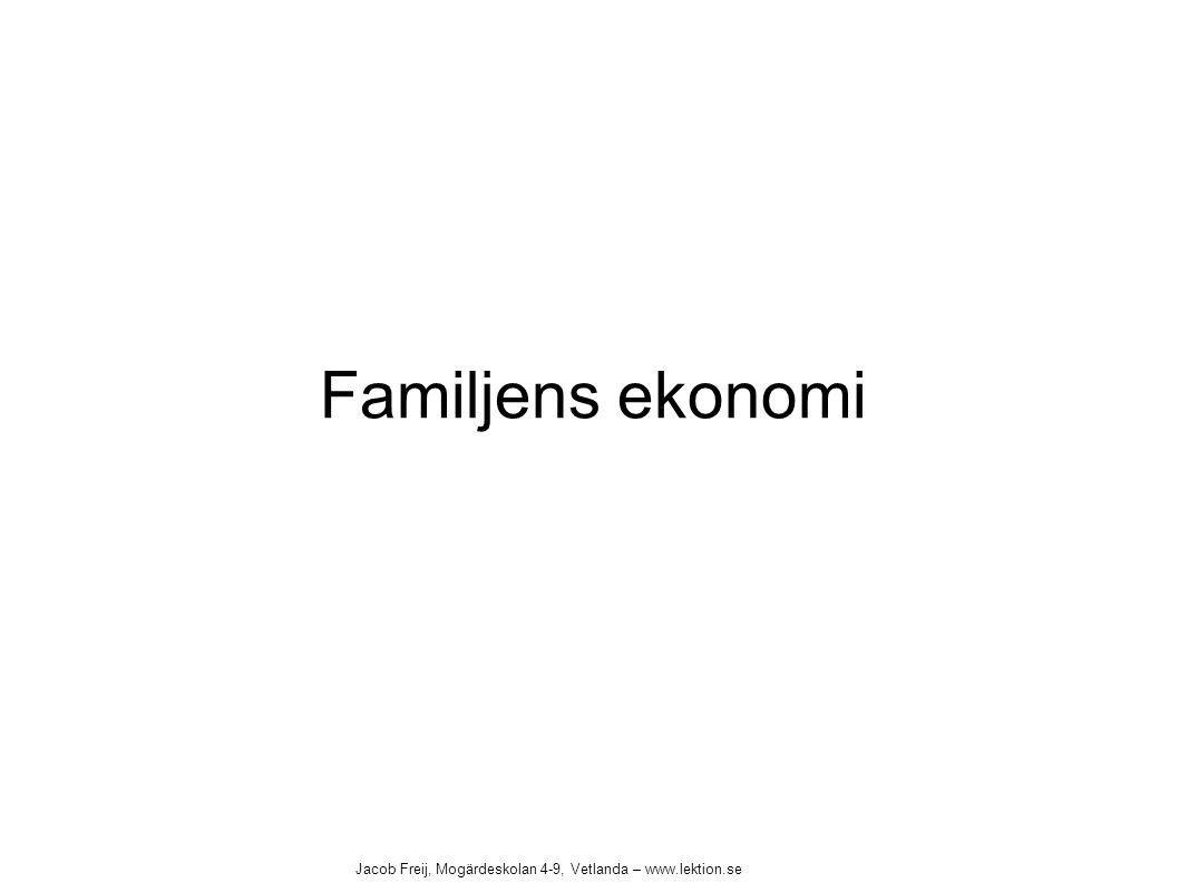 Familjens ekonomi Jacob Freij, Mogärdeskolan 4-9, Vetlanda – www.lektion.se