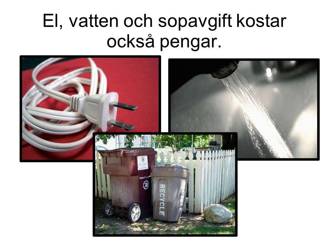 El, vatten och sopavgift kostar också pengar.