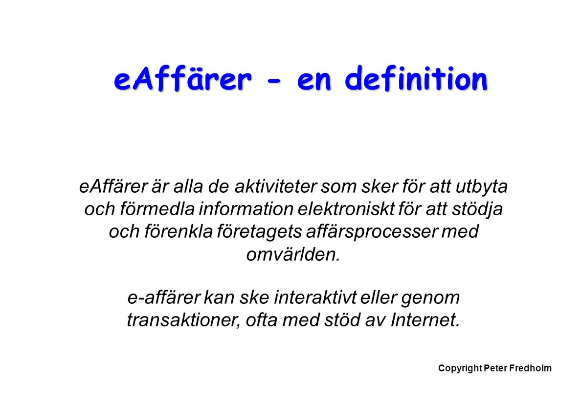 eAffärer - en definition