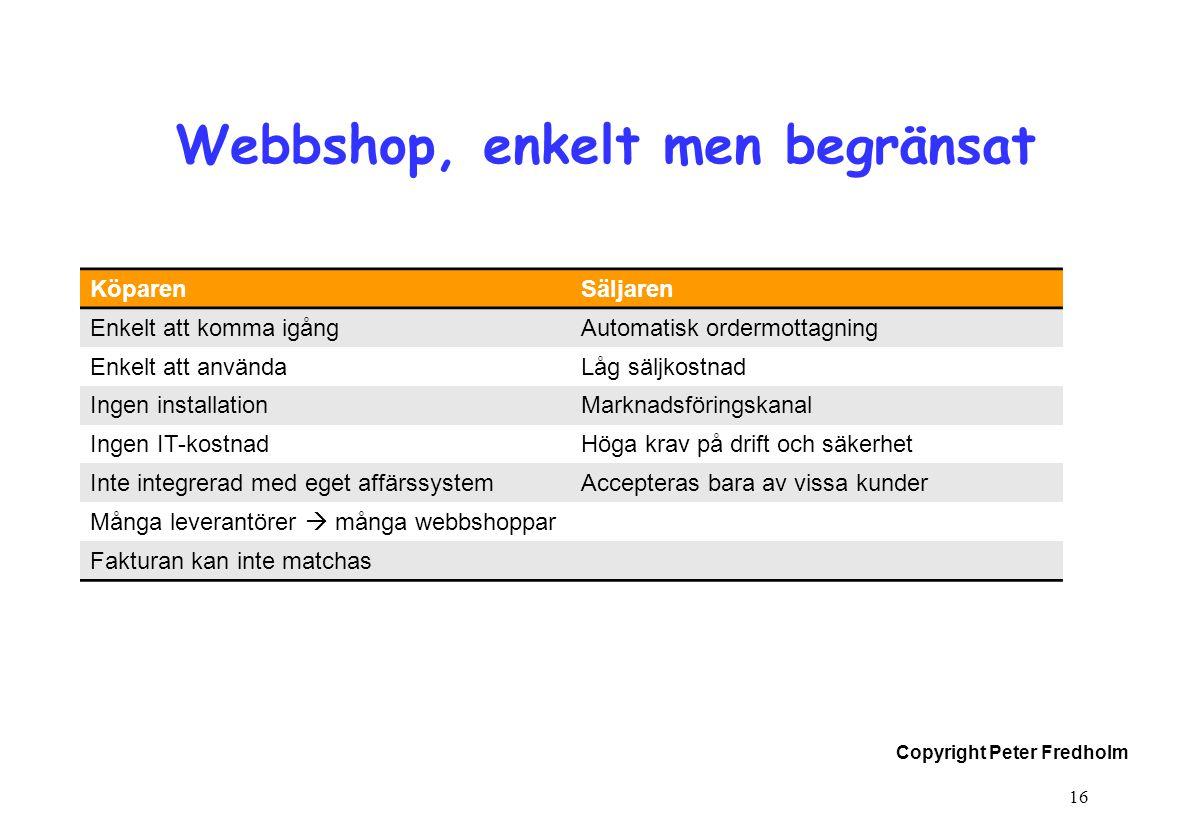 Webbshop, enkelt men begränsat