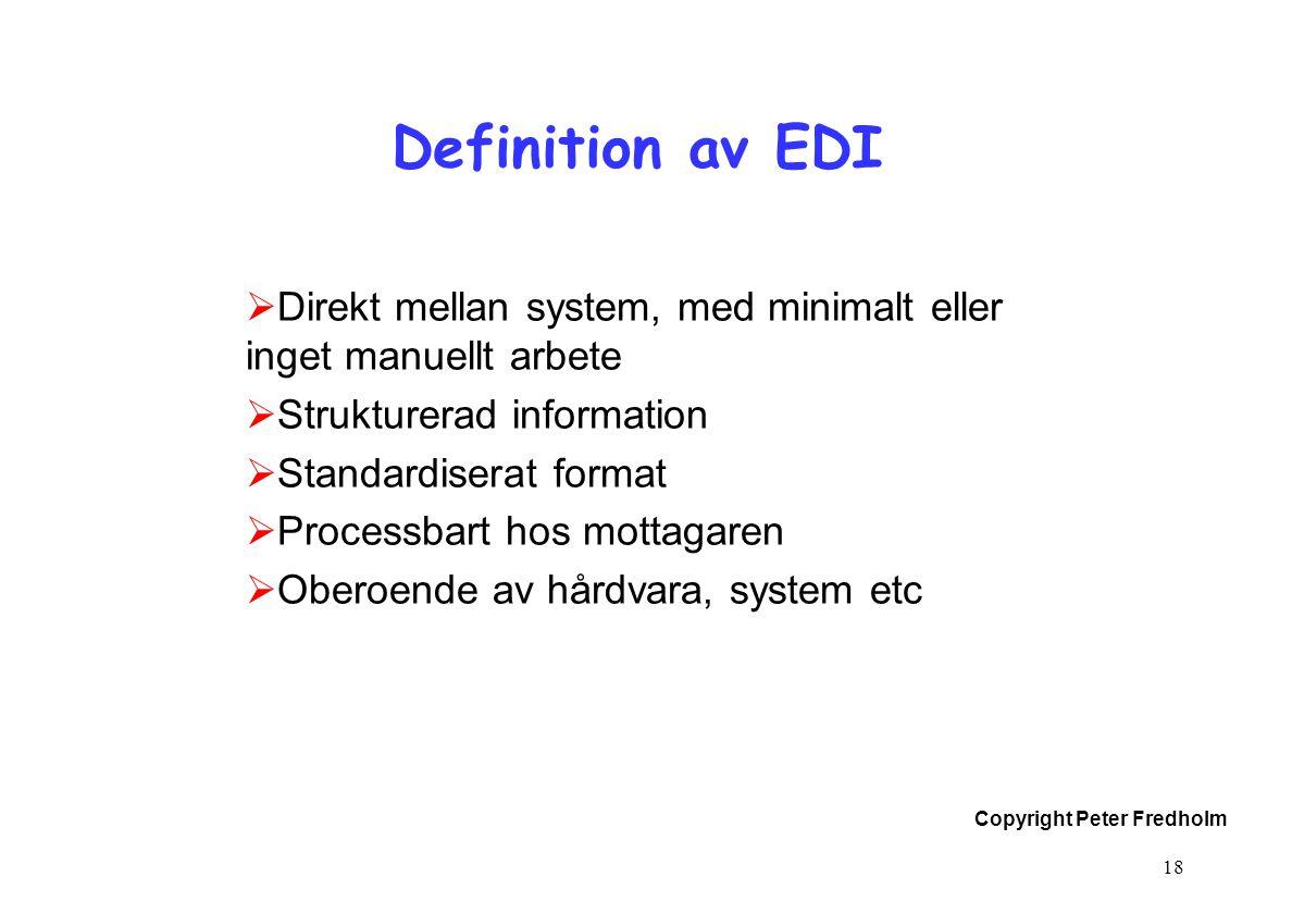 Definition av EDI Direkt mellan system, med minimalt eller inget manuellt arbete. Strukturerad information.