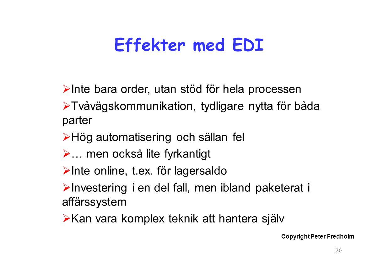 Effekter med EDI Inte bara order, utan stöd för hela processen