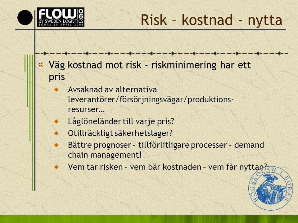 Risk – kostnad - nytta Väg kostnad mot risk - riskminimering har ett pris.