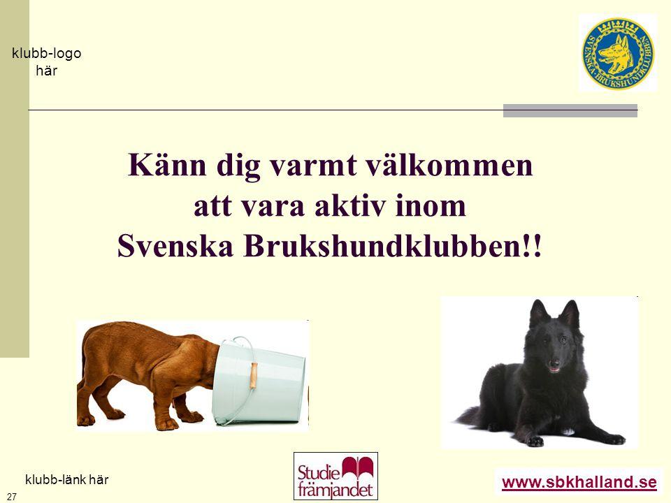 Känn dig varmt välkommen att vara aktiv inom Svenska Brukshundklubben!!