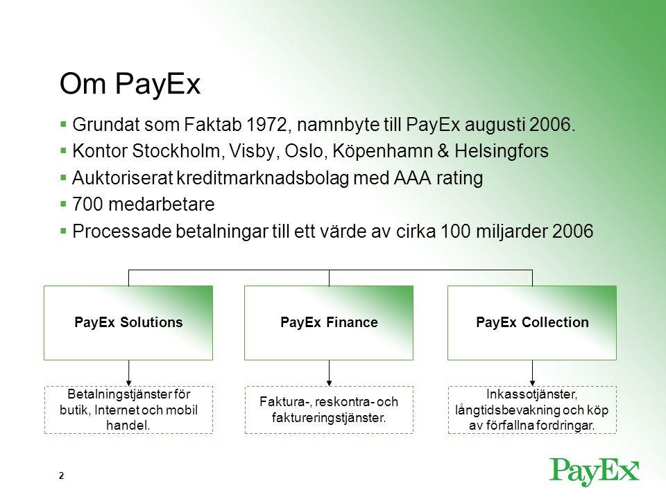 Om PayEx Grundat som Faktab 1972, namnbyte till PayEx augusti 2006.