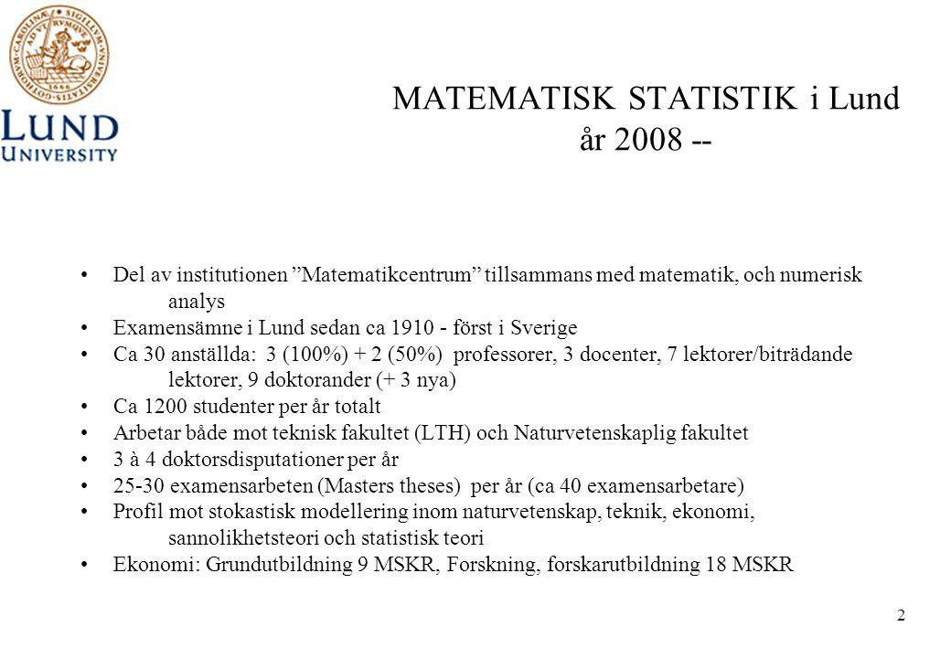 MATEMATISK STATISTIK i Lund år 2008 --