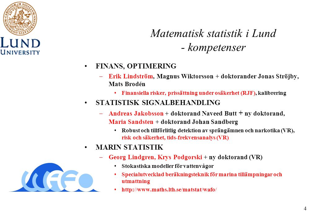Matematisk statistik i Lund - kompetenser