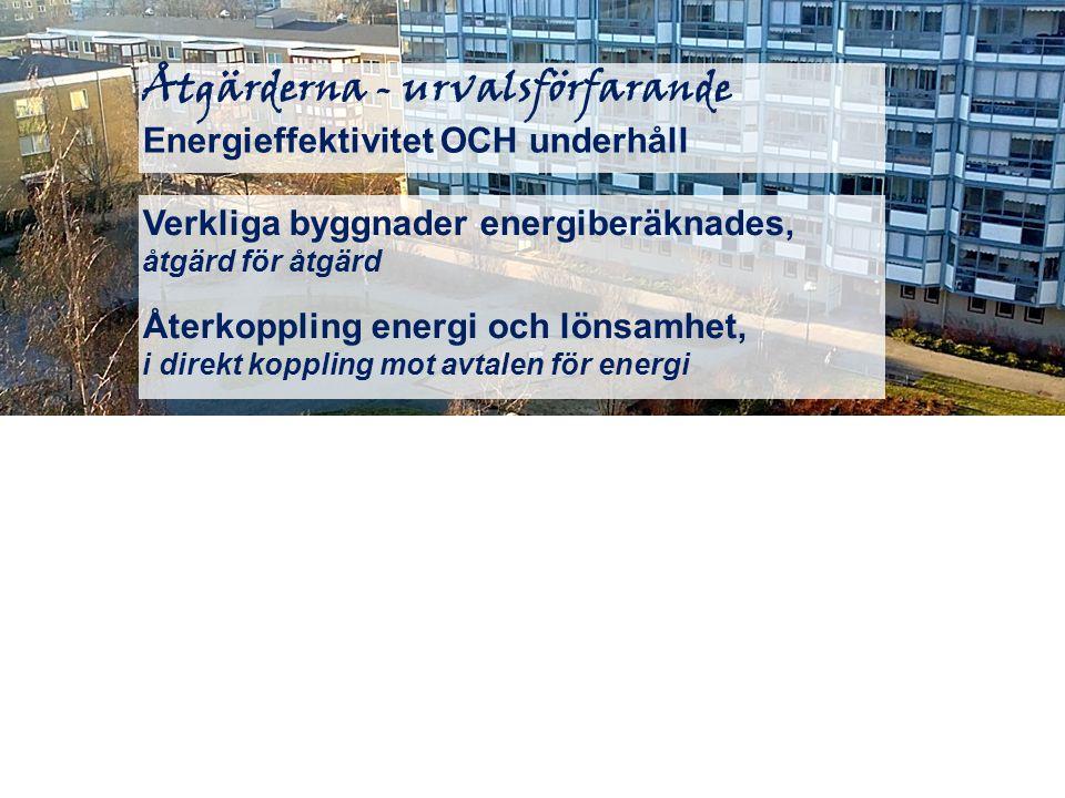Åtgärderna - urvalsförfarande Energieffektivitet OCH underhåll