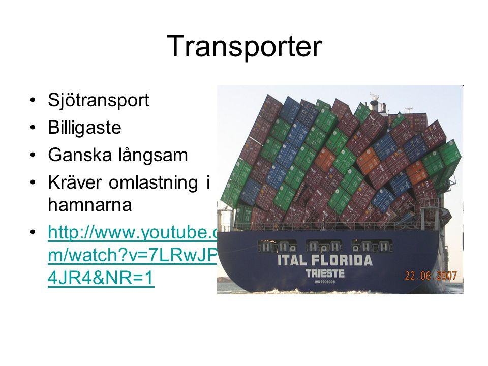 Transporter Sjötransport Billigaste Ganska långsam