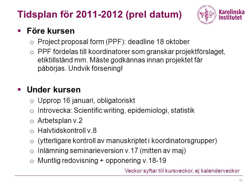 Tidsplan för 2011-2012 (prel datum)