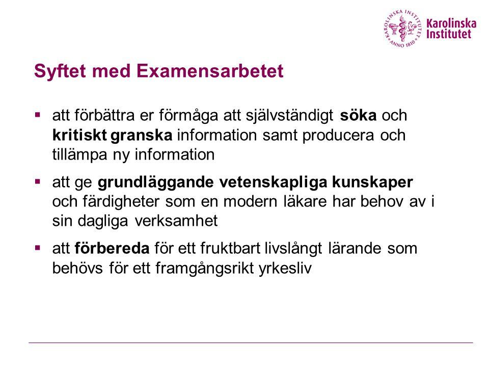 Syftet med Examensarbetet