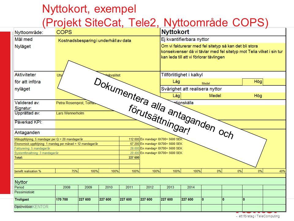 Nyttokort, exempel (Projekt SiteCat, Tele2, Nyttoområde COPS)