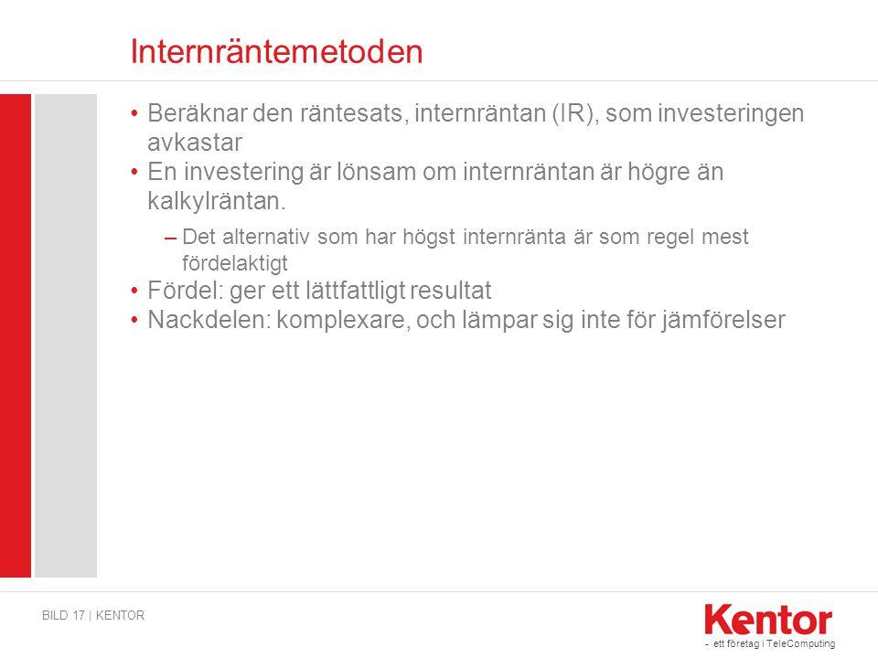 Internräntemetoden Beräknar den räntesats, internräntan (IR), som investeringen avkastar.