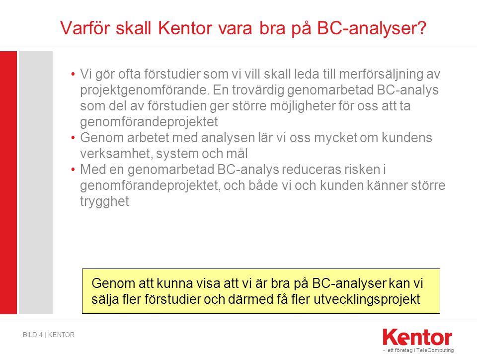 Varför skall Kentor vara bra på BC-analyser