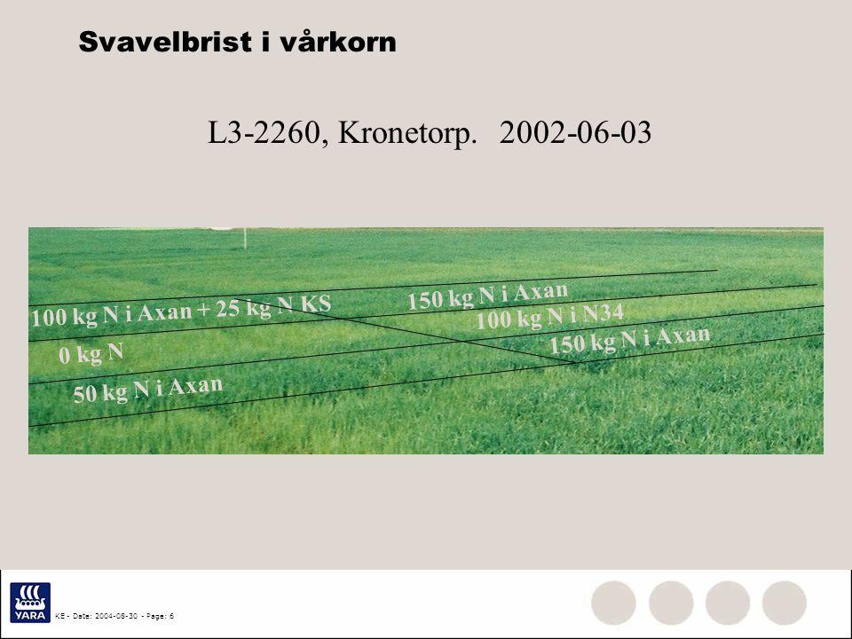 L3-2260, Kronetorp. 2002-06-03 Svavelbrist i vårkorn 150 kg N i Axan