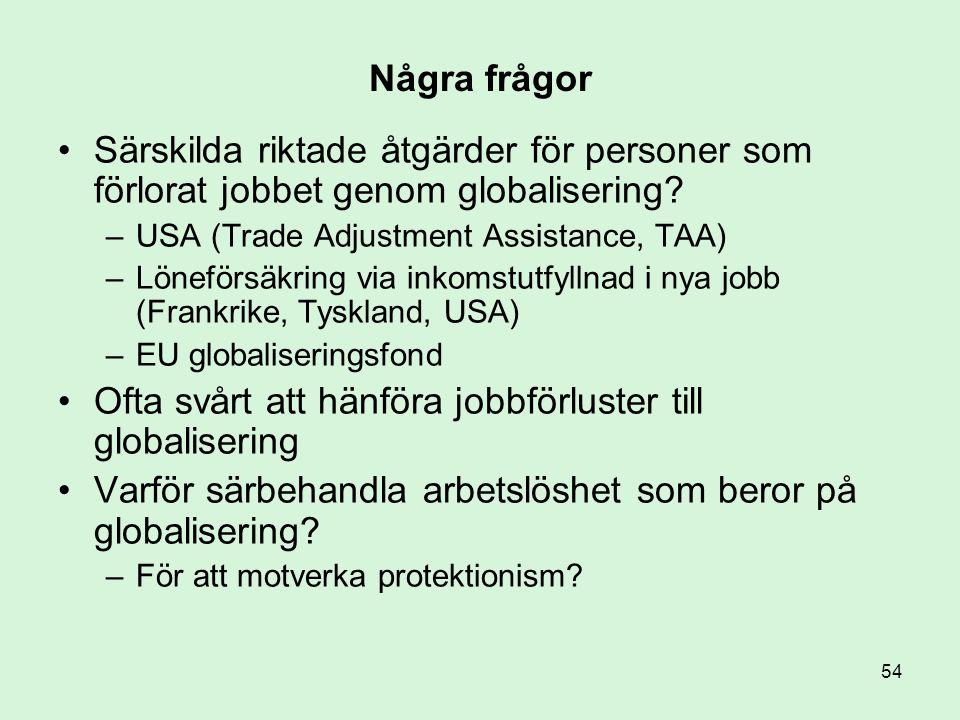 Ofta svårt att hänföra jobbförluster till globalisering