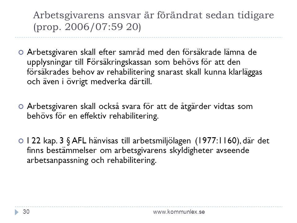Arbetsgivarens ansvar är förändrat sedan tidigare (prop. 2006/07:59 20)