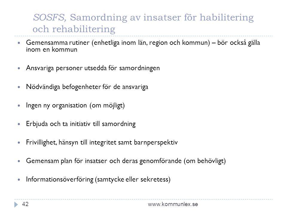 SOSFS, Samordning av insatser för habilitering och rehabilitering