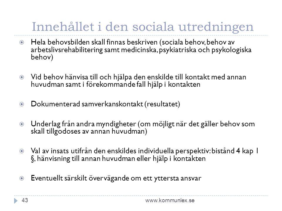 Innehållet i den sociala utredningen