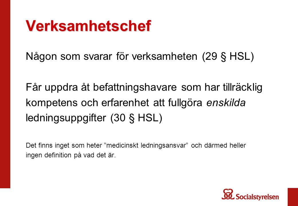 Verksamhetschef Någon som svarar för verksamheten (29 § HSL)