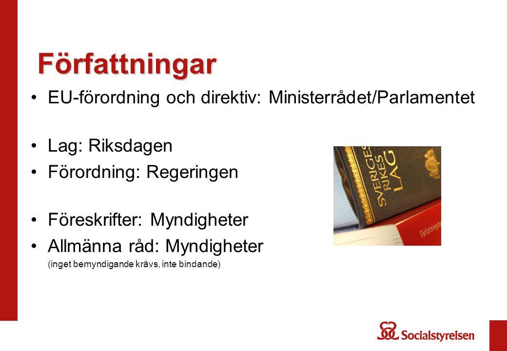 Författningar EU-förordning och direktiv: Ministerrådet/Parlamentet