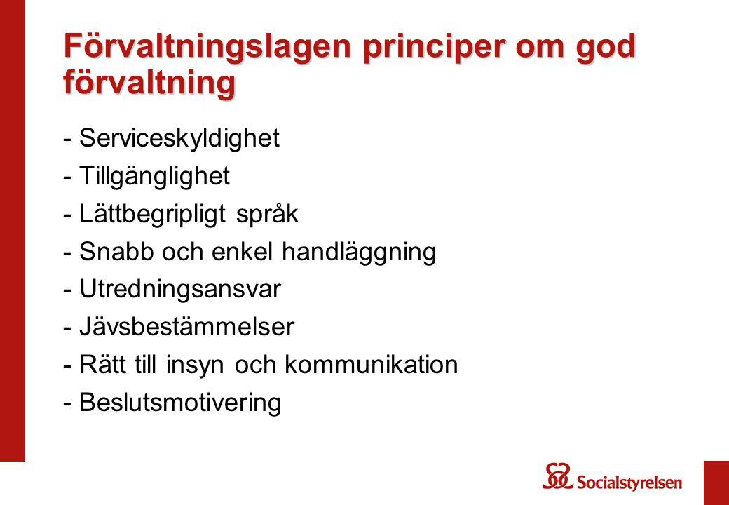 Förvaltningslagen principer om god förvaltning
