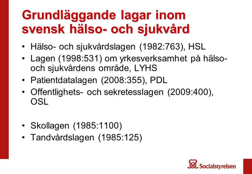 Grundläggande lagar inom svensk hälso- och sjukvård