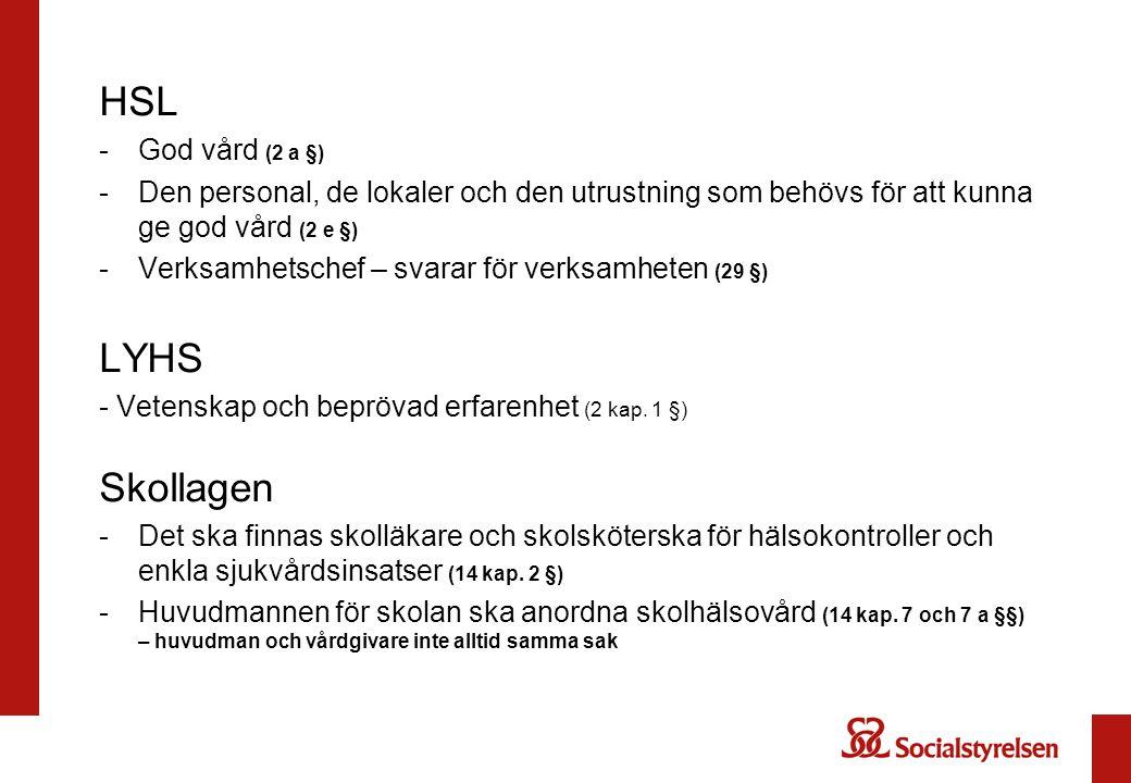 HSL LYHS Skollagen God vård (2 a §)