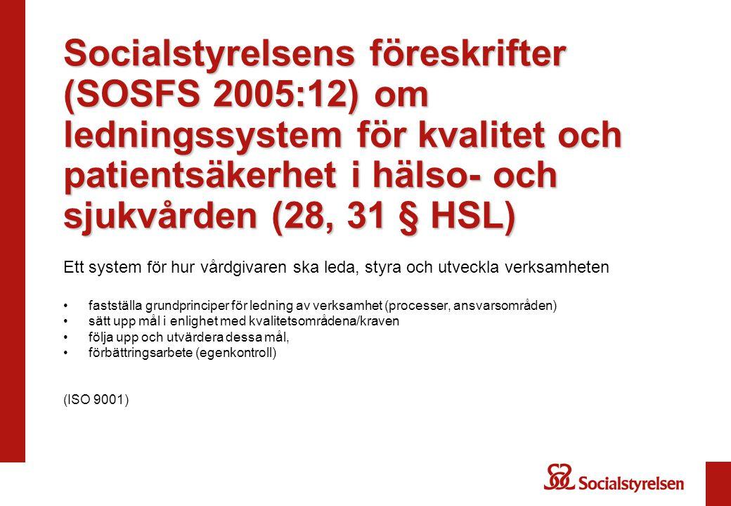 Socialstyrelsens föreskrifter (SOSFS 2005:12) om ledningssystem för kvalitet och patientsäkerhet i hälso- och sjukvården (28, 31 § HSL)