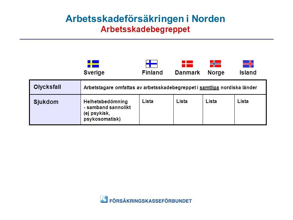 Arbetsskadeförsäkringen i Norden Arbetsskadebegreppet