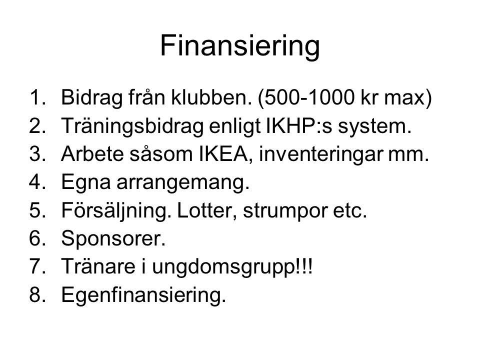 Finansiering Bidrag från klubben. (500-1000 kr max)