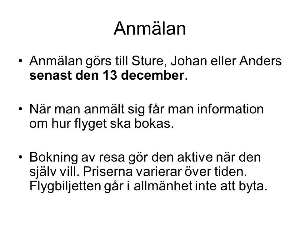 Anmälan Anmälan görs till Sture, Johan eller Anders senast den 13 december. När man anmält sig får man information om hur flyget ska bokas.
