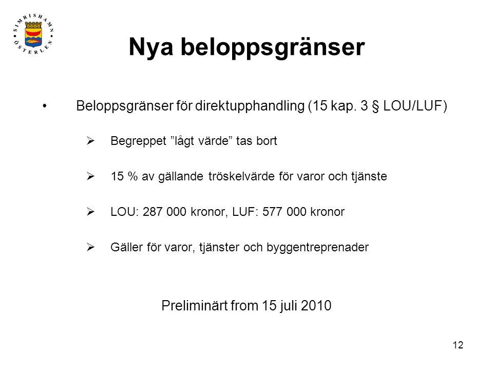 2010-05-25 Nya beloppsgränser. Beloppsgränser för direktupphandling (15 kap. 3 § LOU/LUF) Begreppet lågt värde tas bort.
