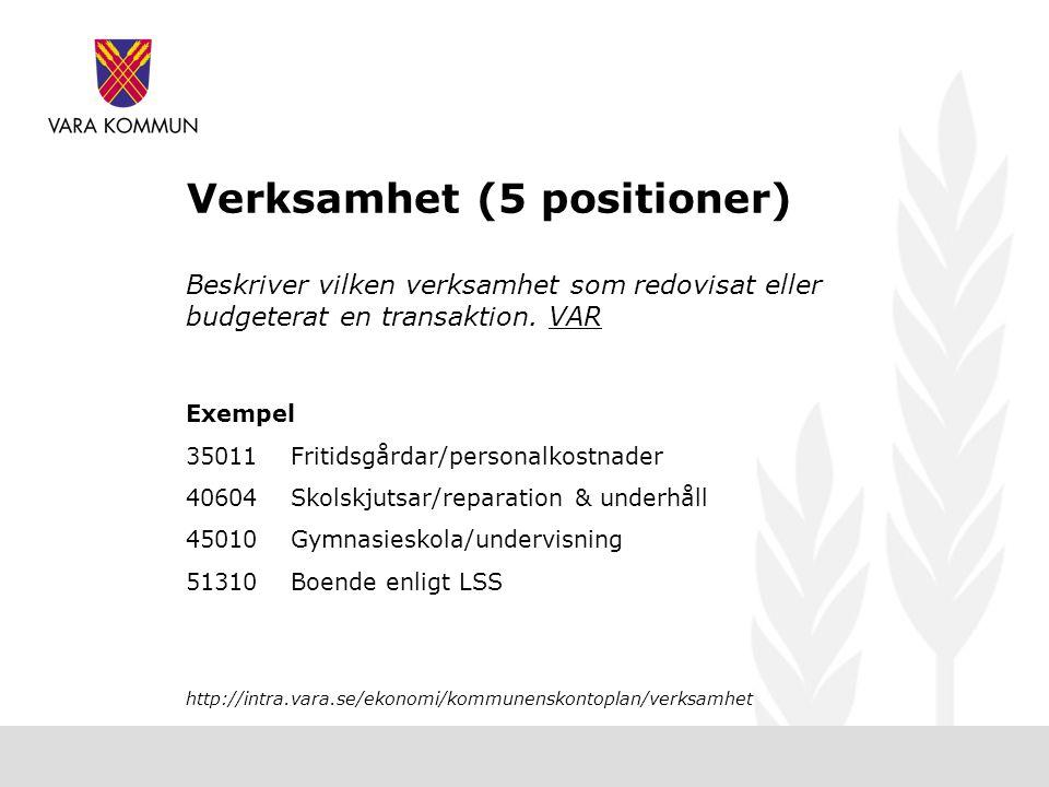 Verksamhet (5 positioner)