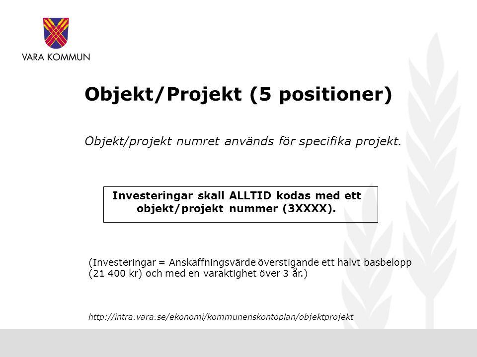 Objekt/Projekt (5 positioner)