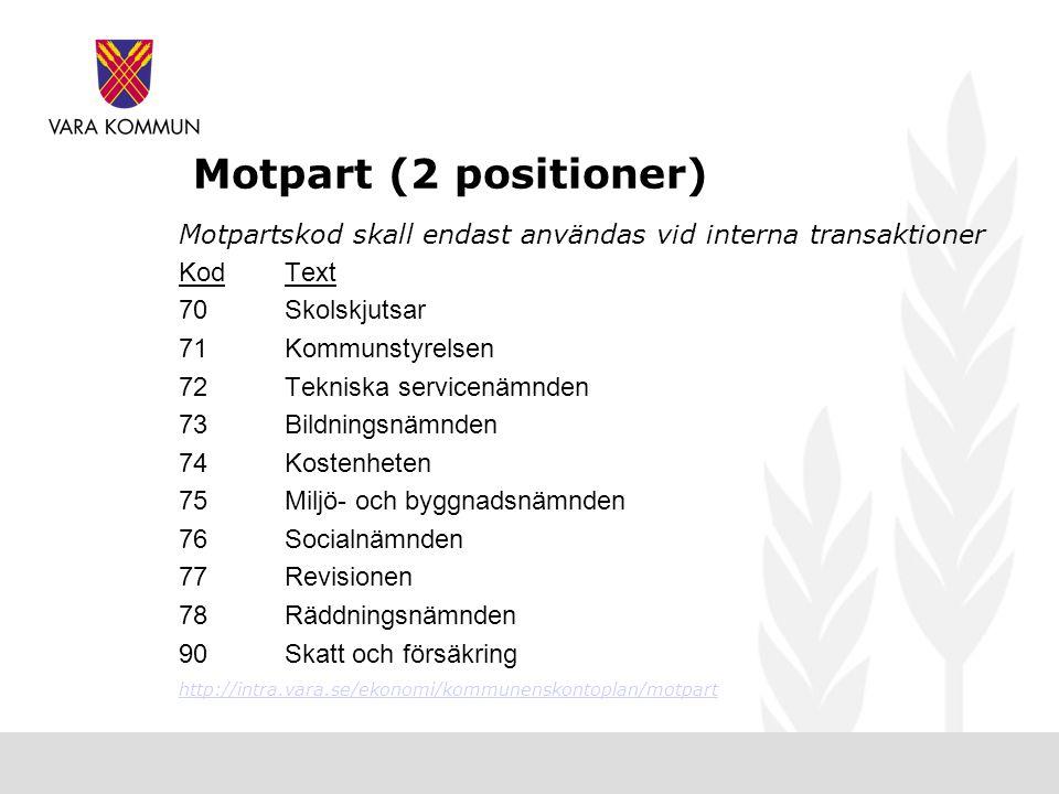 Motpart (2 positioner) Motpartskod skall endast användas vid interna transaktioner. Kod Text. 70 Skolskjutsar.