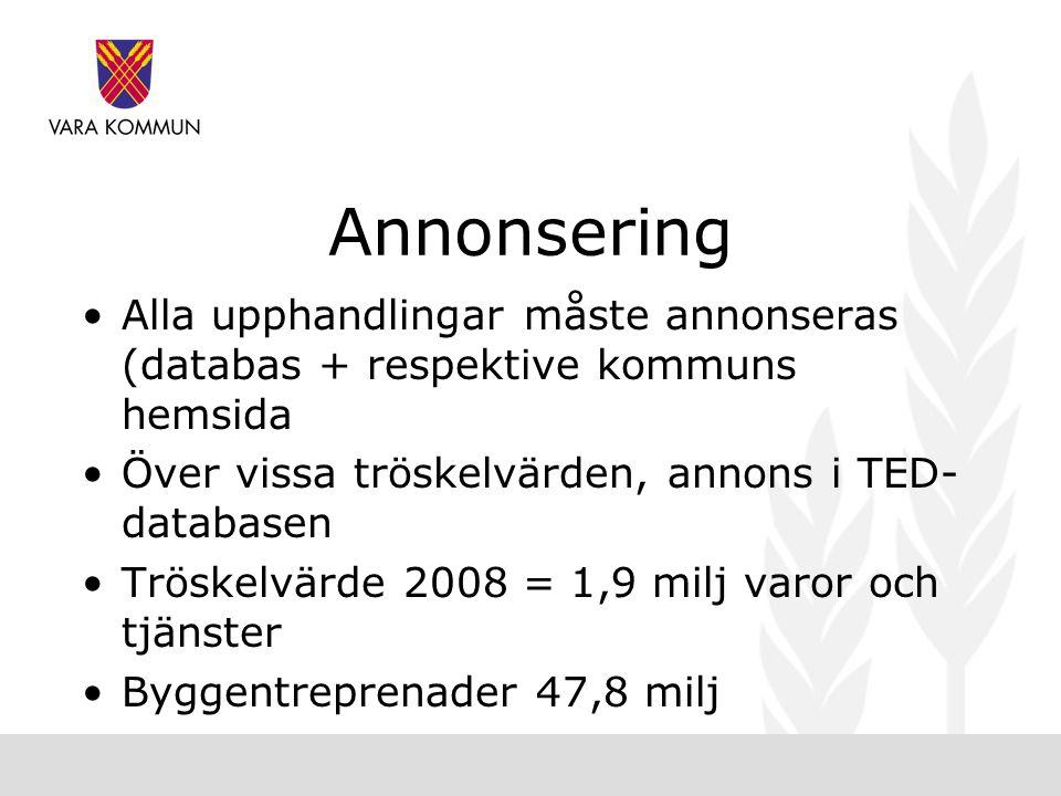 Annonsering Alla upphandlingar måste annonseras (databas + respektive kommuns hemsida. Över vissa tröskelvärden, annons i TED-databasen.