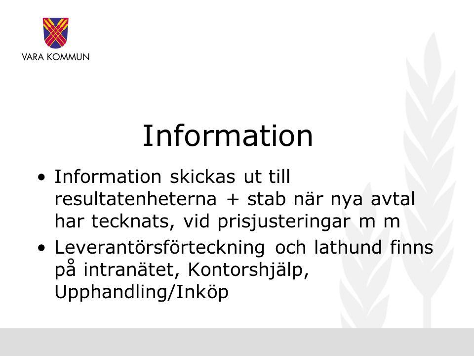 Information Information skickas ut till resultatenheterna + stab när nya avtal har tecknats, vid prisjusteringar m m.