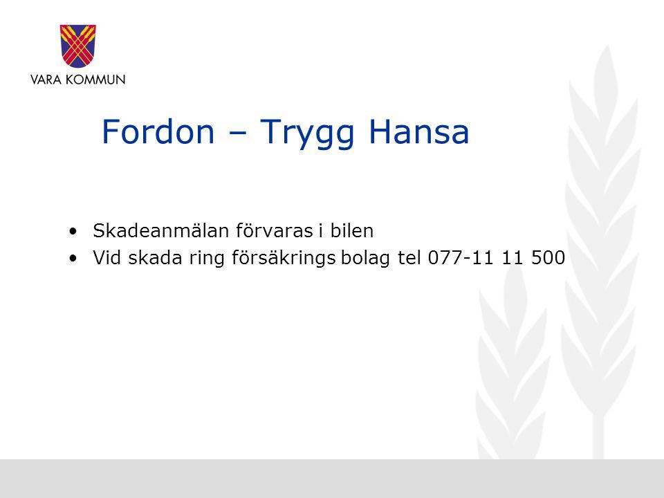 Fordon – Trygg Hansa Skadeanmälan förvaras i bilen