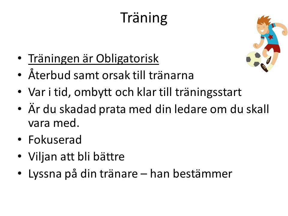 Träning Träningen är Obligatorisk Återbud samt orsak till tränarna