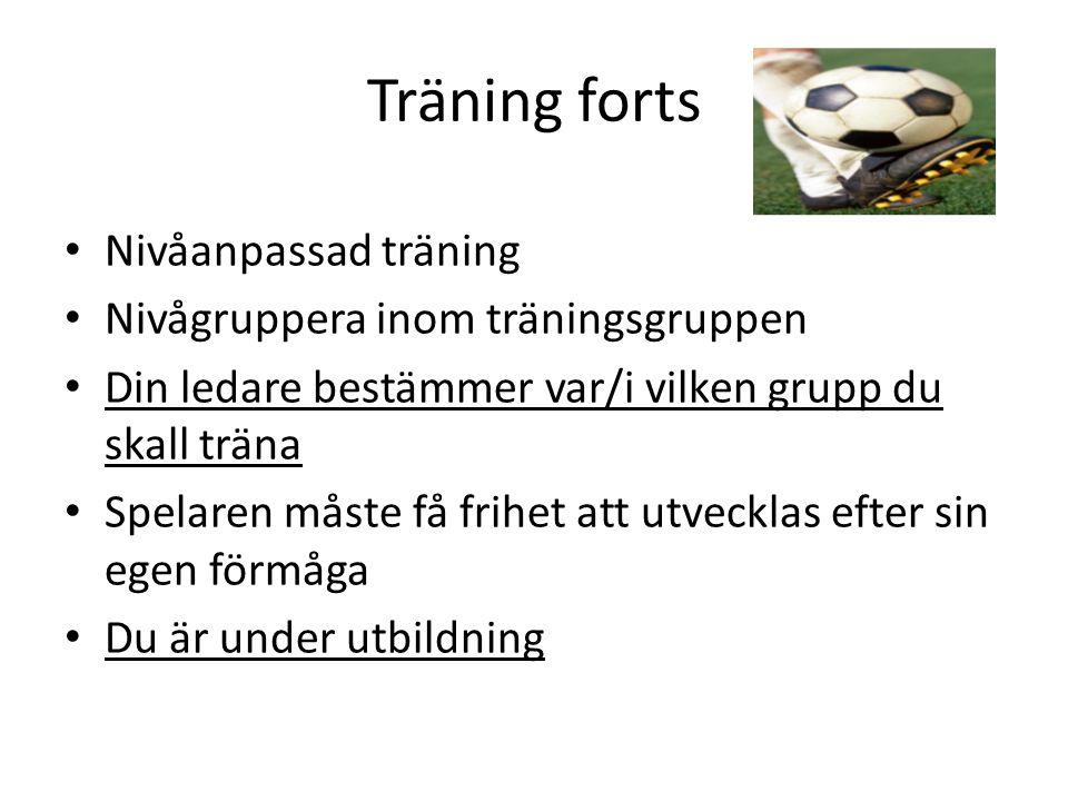 Träning forts Nivåanpassad träning Nivågruppera inom träningsgruppen