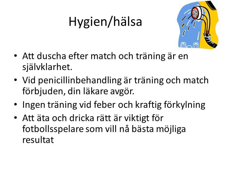 Hygien/hälsa Att duscha efter match och träning är en självklarhet.